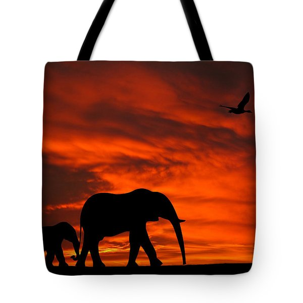 Mother And Baby Elephants Sunset Silhouette Series Tote Bag
