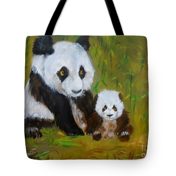 Tote Bag featuring the painting Mother And Baby Panda by Jenny Lee