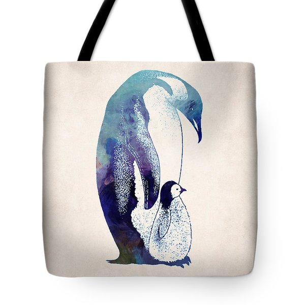 Mother And Baby Penguin Tote Bag