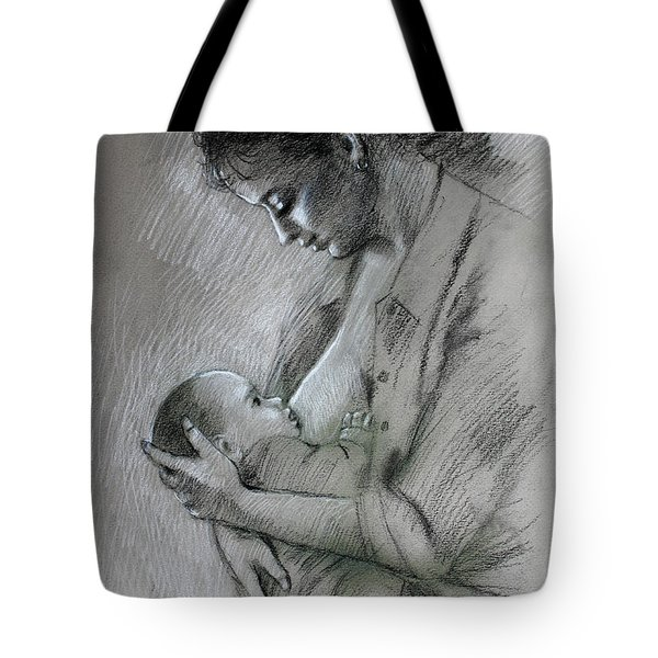 Mother And Baby Tote Bag by Viola El
