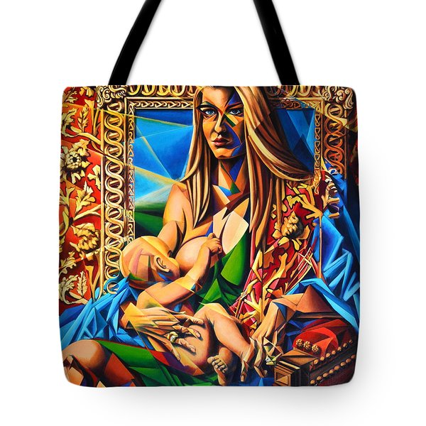 Tote Bag featuring the painting Mother And Child by Greg Skrtic