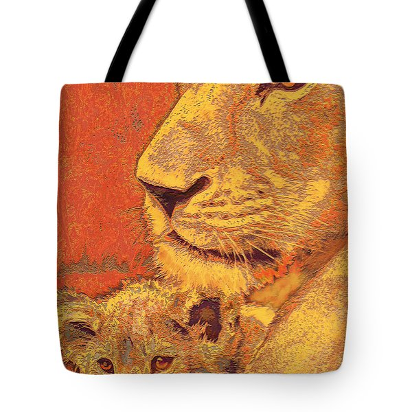 Mother And Cub Tote Bag by Jane Schnetlage