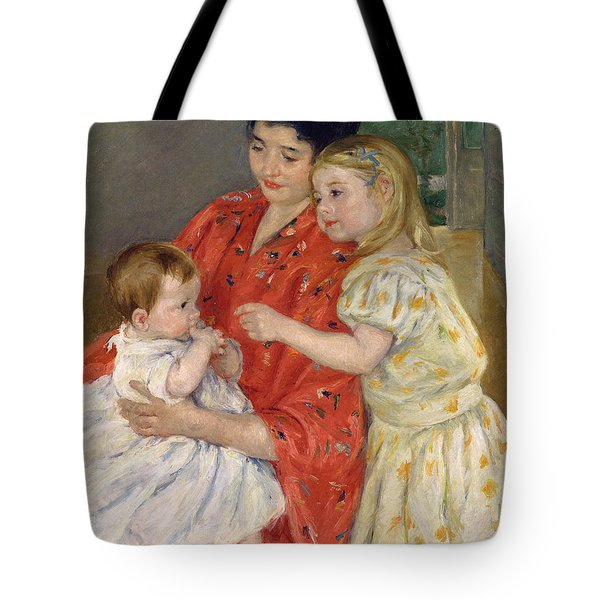 Mother And Sara Admiring The Baby Tote Bag by Marry Cassatt