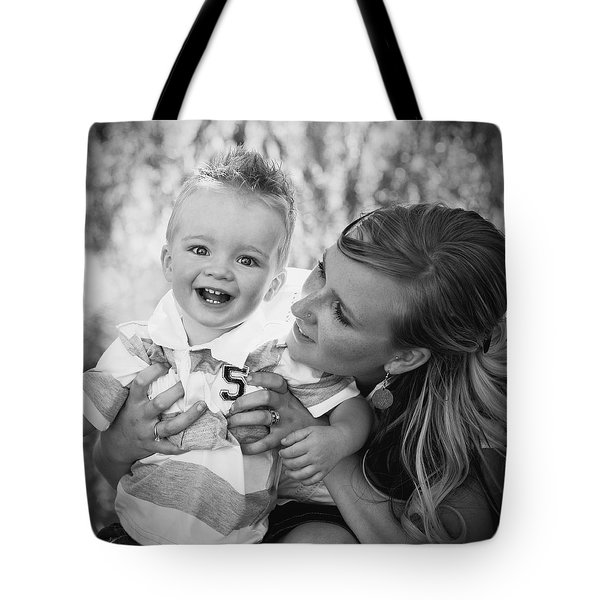 Mother And Son Laughing Together Tote Bag by Daniel Sicolo