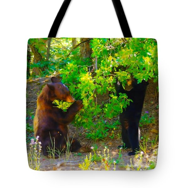 Mother Bear And Cub Tote Bag by Jeff Swan