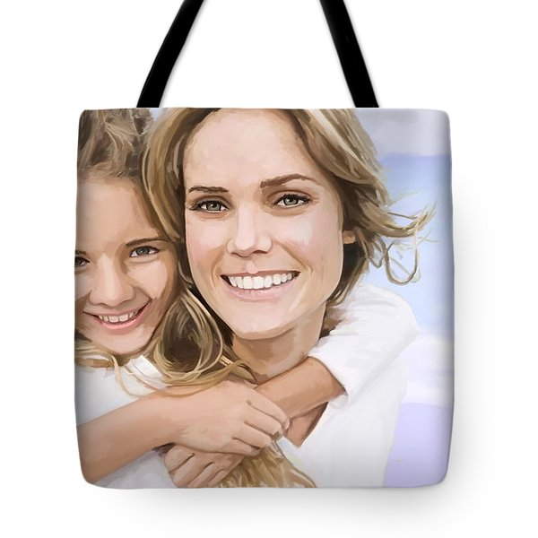 Tote Bag featuring the painting Mother Daughter Portrait   by Tim Gilliland