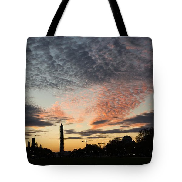 Mother Nature Painted The Sky Over Washington D C Spectacular Tote Bag by Georgia Mizuleva