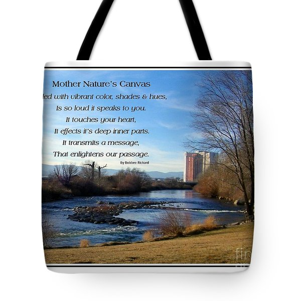 Tote Bag featuring the photograph Mother Natures Canvas by Bobbee Rickard