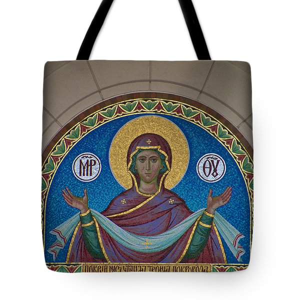 Mother Of God Mosaic Tote Bag by William Norton