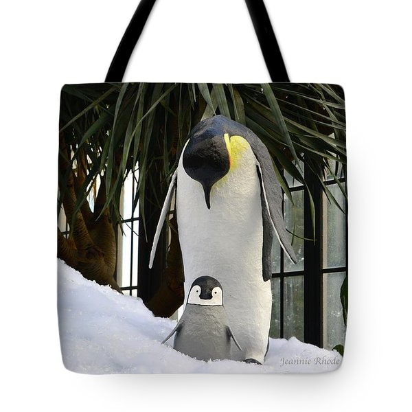 Mother Penguin And Baby Tote Bag