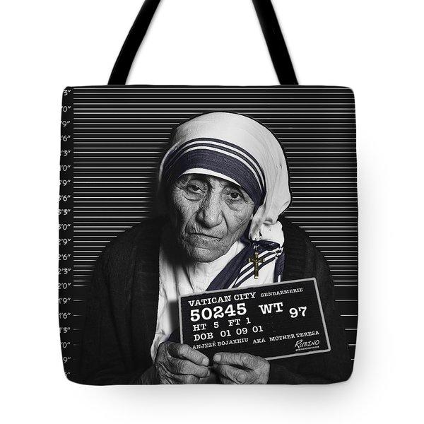 Mother Teresa Mug Shot Tote Bag by Tony Rubino