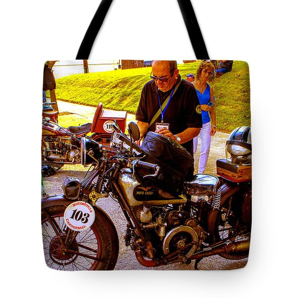Moto Guzzi At Cannonball Motorcycle Tote Bag