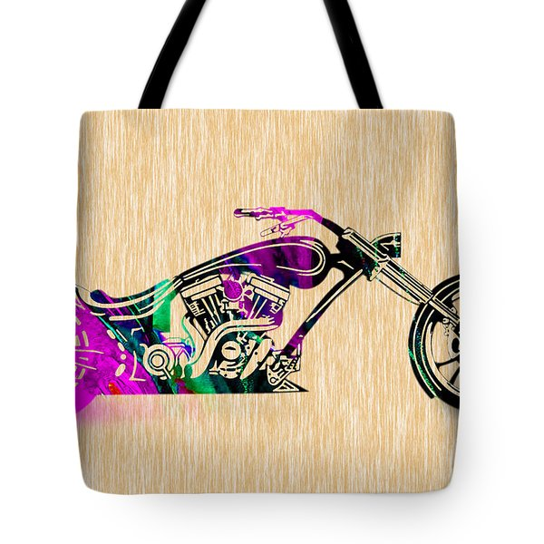 Motorcycle Painting Tote Bag by Marvin Blaine