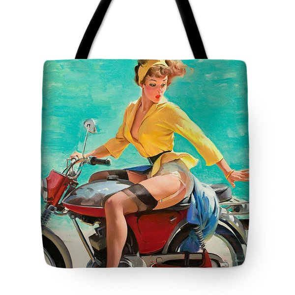 Motorcycle Pinup Girl Tote Bag