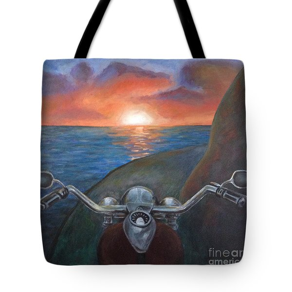 Motorcycle Sunset Tote Bag