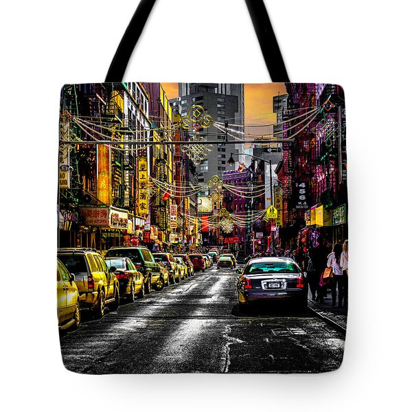 Tote Bag featuring the photograph Mott Street by Chris Lord