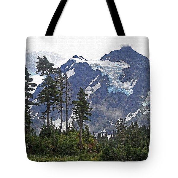 Tote Bag featuring the photograph Mount Baker And Fir Trees And Glaciers And Fog by Tom Janca