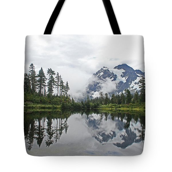 Mount Baker- Lake- Fir Trees And  Fog Tote Bag by Tom Janca