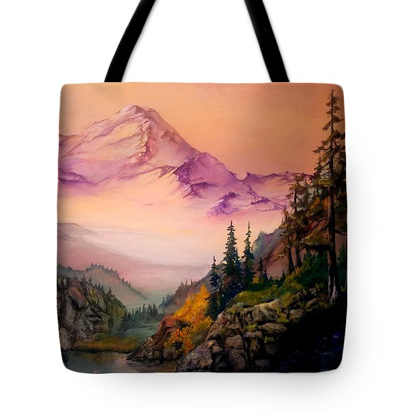 Tote Bag featuring the painting Mount Baker Morning by Sherry Shipley