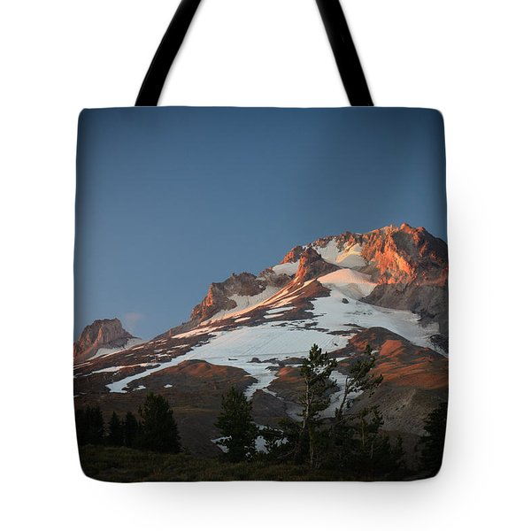 Mount Hood Summit In Warm Glow Tote Bag by Karen Lee Ensley