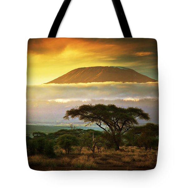 Mount Kilimanjaro Savanna In Amboseli Kenya Tote Bag by Michal Bednarek