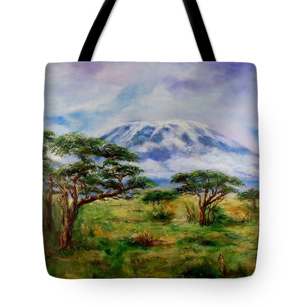 Tote Bag featuring the painting Mount Kilimanjaro Tanzania by Sher Nasser