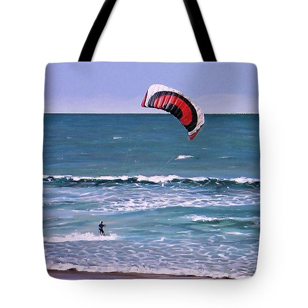 Tote Bag featuring the painting Mount Maunganui 160308 by Sylvia Kula