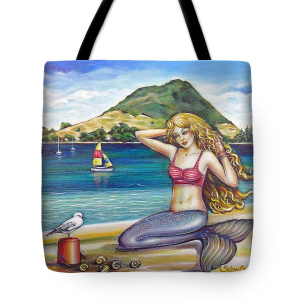 Mount Maunganui Beach Mermaid 160313 Tote Bag by Selena Boron