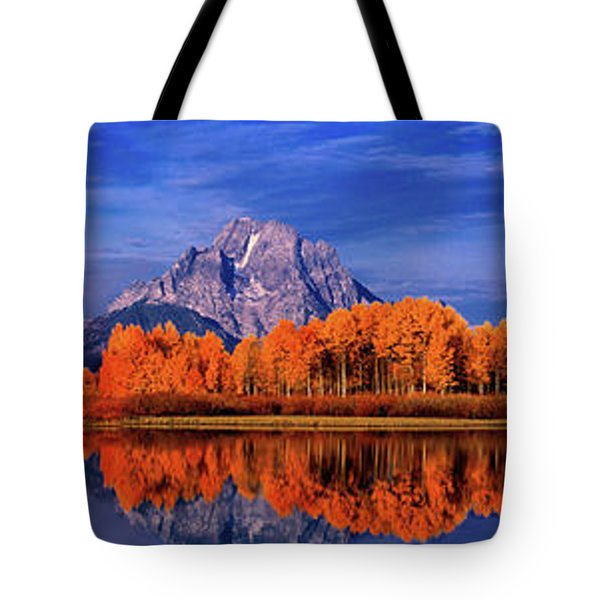 Mount Moran And Fall Color Grand Tetons Tote Bag by Dave Welling