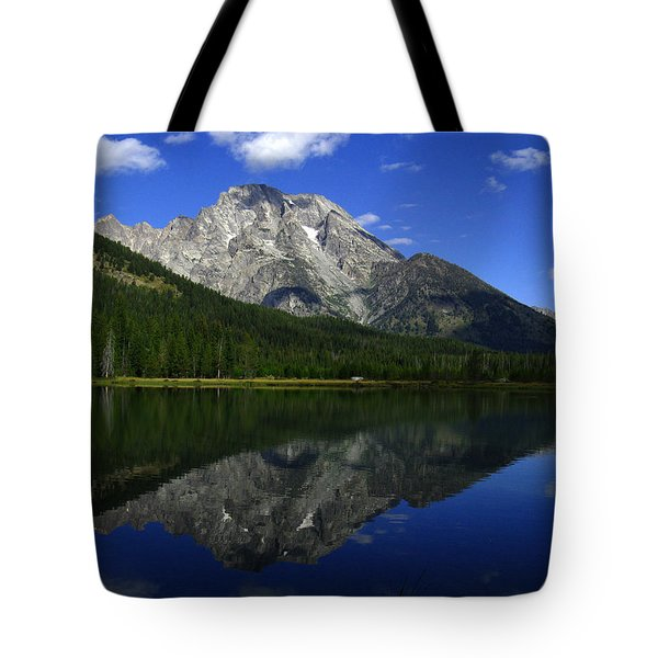 Tote Bag featuring the photograph Mount Moran And String Lake by Raymond Salani III