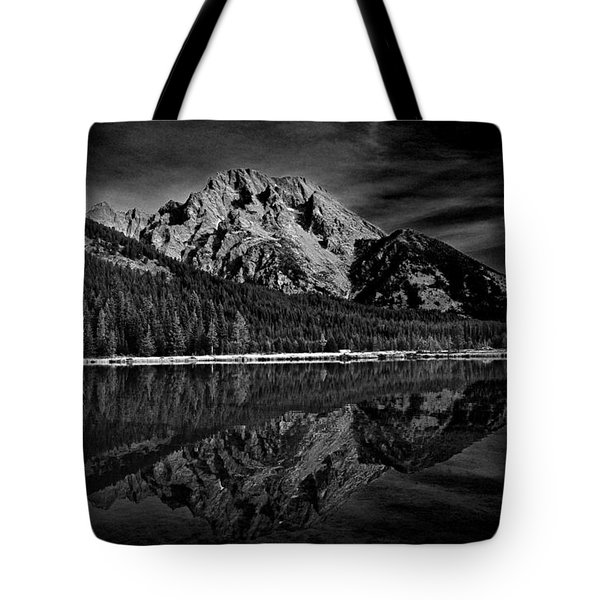 Mount Moran In Black And White Tote Bag