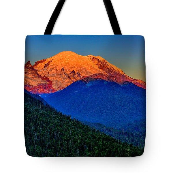Mount Rainier Alpenglow Tote Bag