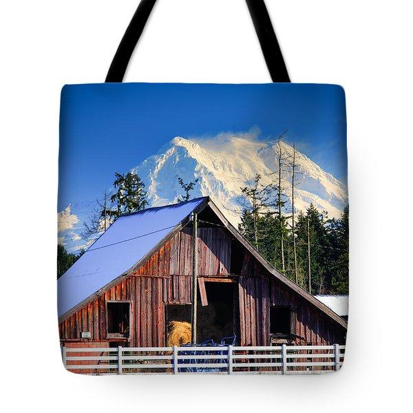 Mount Rainier And Barn Tote Bag