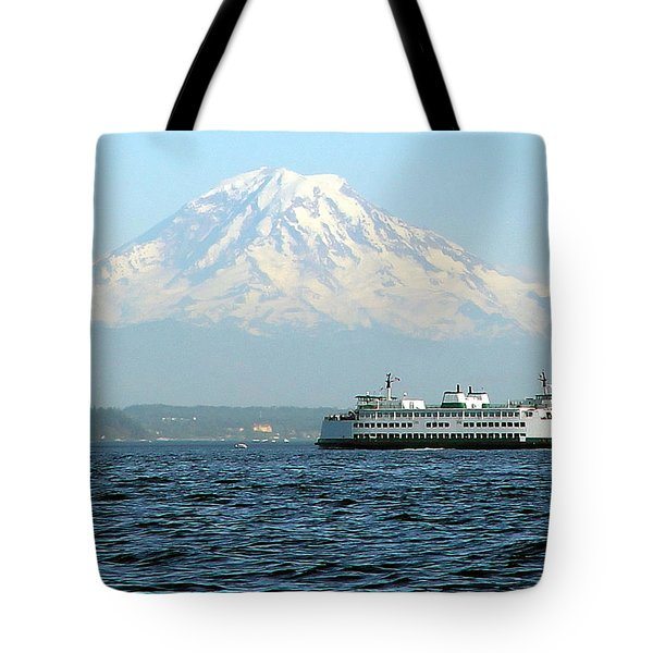 Mount Rainier And Ferry Tote Bag