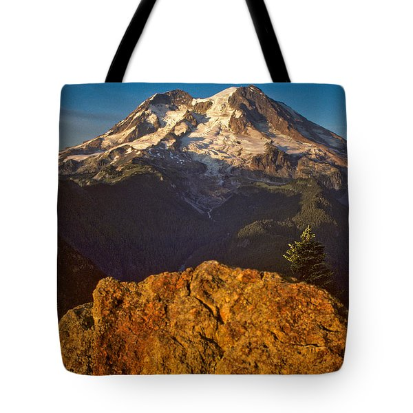 Tote Bag featuring the photograph Mount Rainier At Sunset With Big Boulders In Foreground by Jeff Goulden