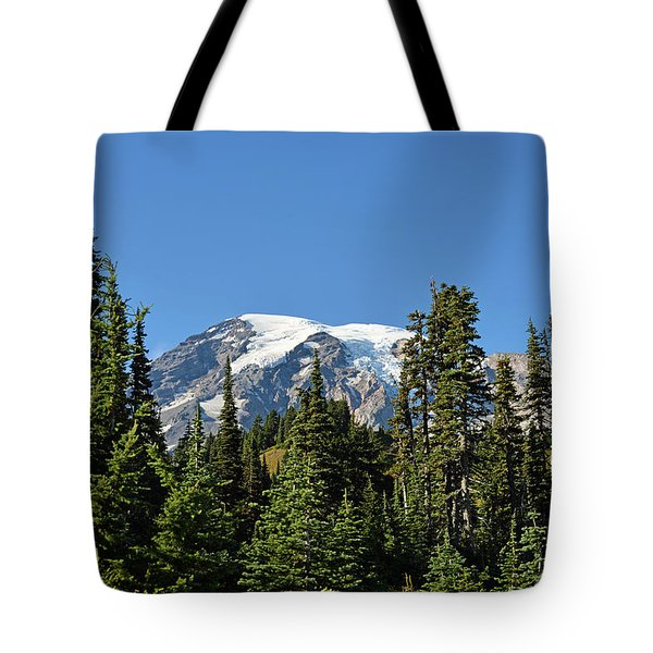 Mount Rainier Evergreens Tote Bag