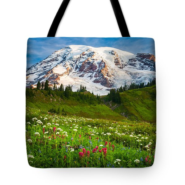 Mount Rainier Flower Meadow Tote Bag by Inge Johnsson