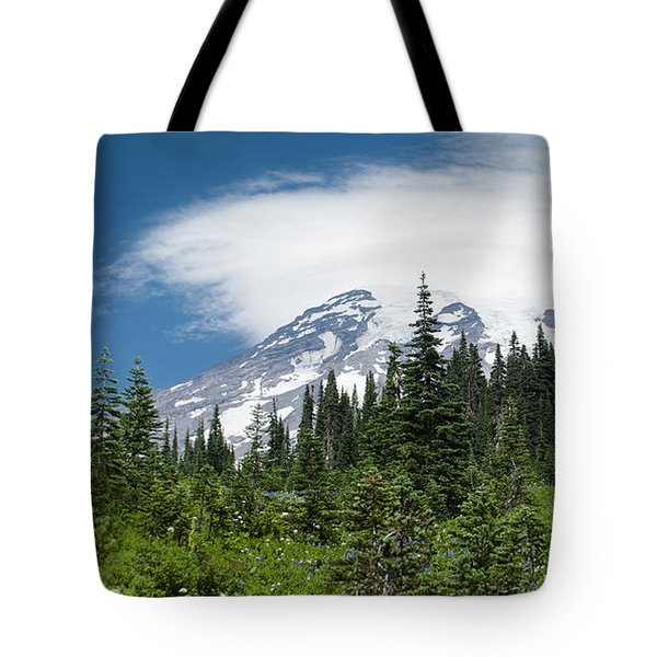 Mount Rainier Forest Tote Bag