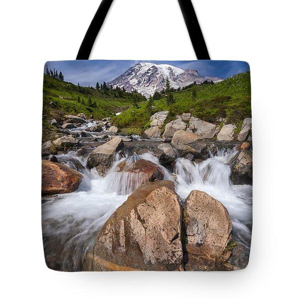 Mount Rainier Glacial Flow Tote Bag