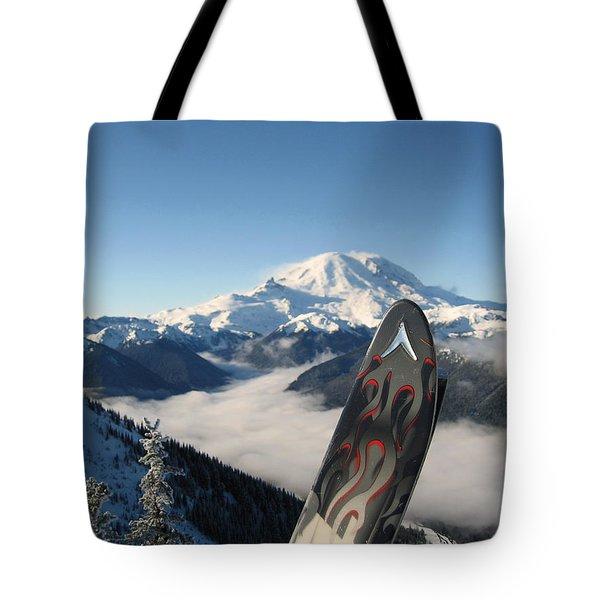 Mount Rainier Has Skis Tote Bag