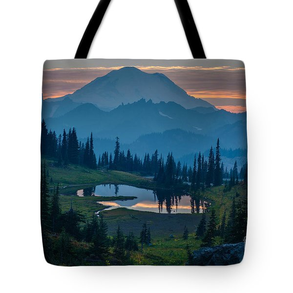 Mount Rainier Layers Tote Bag by Mike Reid