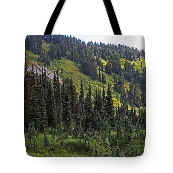 Tote Bag featuring the photograph Mount Rainier Ridges And Fir Trees.. by Tom Janca