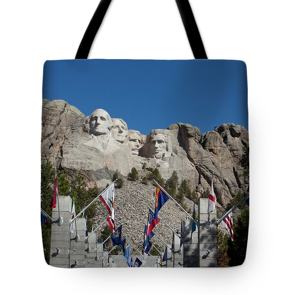 Mount Rushmore Avenue Of Flags Tote Bag