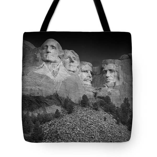 Mount Rushmore South Dakota Dawn  B W Tote Bag by Steve Gadomski