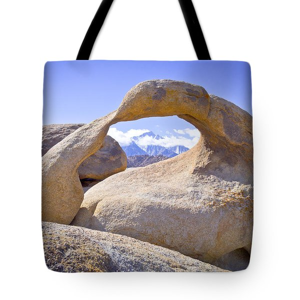 Mount Whitney Framed By The Mobius Arch Tote Bag by Priya Ghose