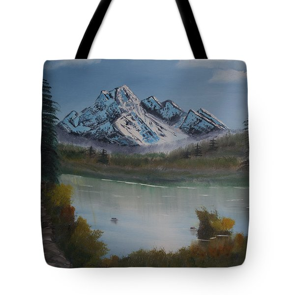 Tote Bag featuring the painting Mountain And River by Ian Donley