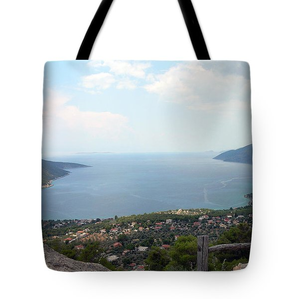 Mountain And Sea View In Greece Tote Bag