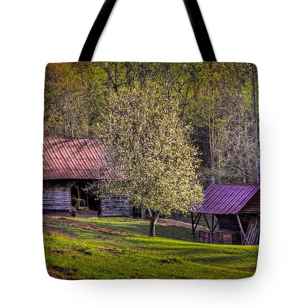 Mountain Barns In North Carolina Tote Bag by Debra and Dave Vanderlaan