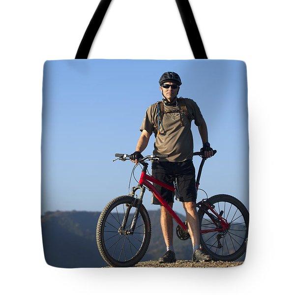 Mountain Biker Tote Bag by Mike Raabe