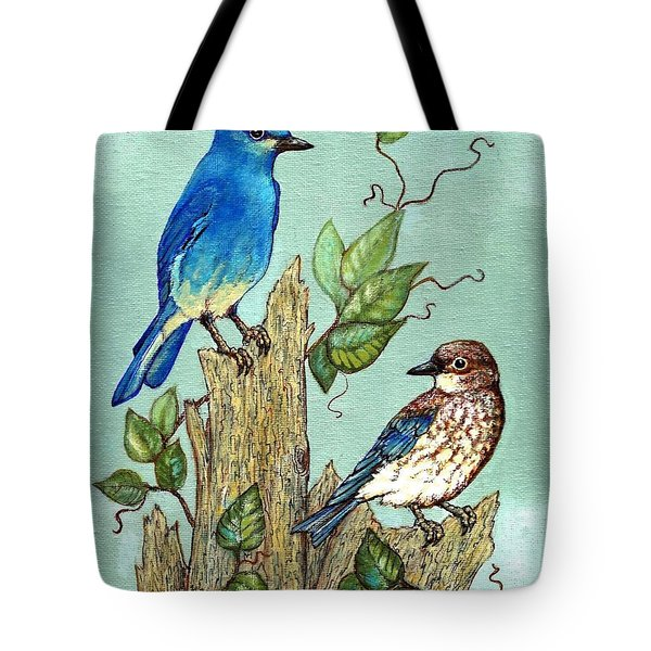 Tote Bag featuring the painting Mountain Bluebirds by VLee Watson